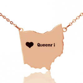 Custom Ohio State USA Map Necklace With Heart  Name Rose Gold