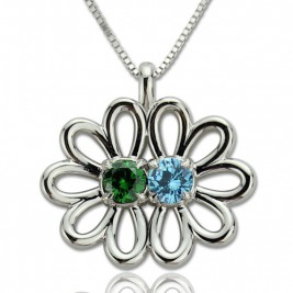 Personalised Double Flower Pendant with Birthstone Sterling Silver