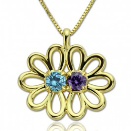 Personalised Double Flower Pendant with Birthstone 18ct Gold Plated Silver