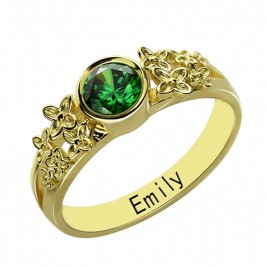 Personalised Flower Engagement Birthstone Name Ring Gold Plated Silver