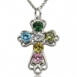 Personalised Cross Necklace with Birthstones Sterling Silver
