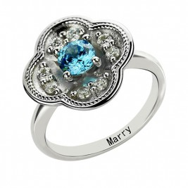 Birthstone Blossoming Love Engagement Ring Sterling Silver