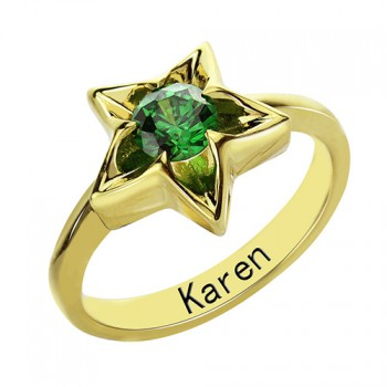 Personalised Star Ring with Birthstone Gold Plated Silver