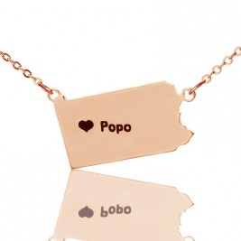 Personalised PA State USA Map Necklace With Heart  Name Rose Gold