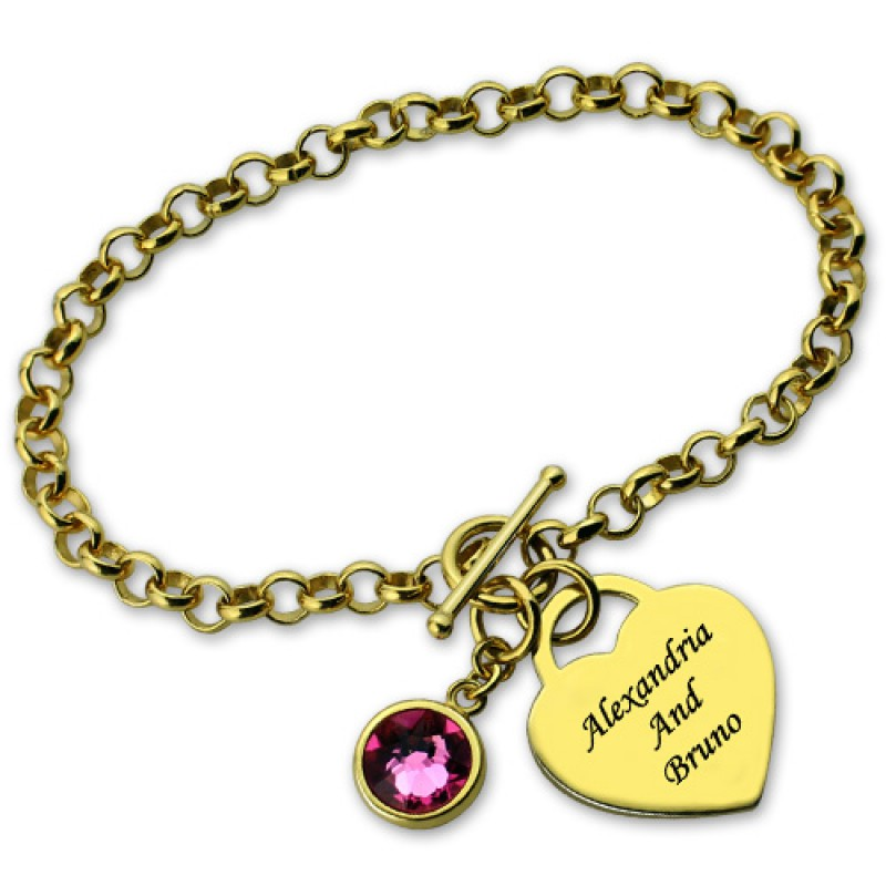 Heart Styles Engravable Birthstone Bracelet With Heart