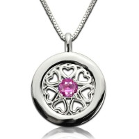 Birthstone Hearts All Around Pendant Necklace Sterling Silver