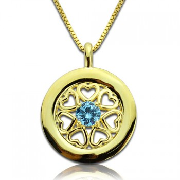 Personalised Hearts Around Necklace with Birthstone 18ct Gold Plated