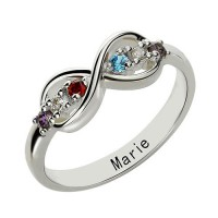 Sterling Silver or Rose Gold Personalised Infinity Name plate Rings for Her