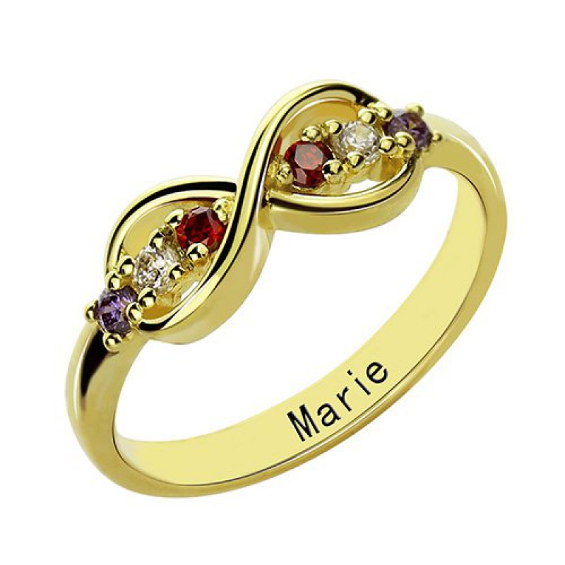 18ct gold plated infinity promise rings with birthstone. Black Bedroom Furniture Sets. Home Design Ideas