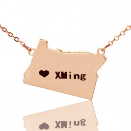 Custom Oregon State USA Map Necklace With Heart  Name Rose Gold