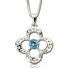 Birthstone Four Clover Good Lucky Charm Necklace Sterling Silver