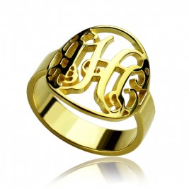 Custom Circle Cut Out Monogrammed Ring 18ct Gold Plated
