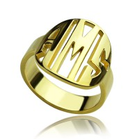 Personalised Block Circle Monogram Ring 18ct Gold Plated
