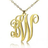 Personailzed Vine Font 2 Initial Monogram Necklace 18ct Gold Plated