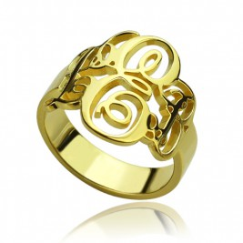 Interlocking Three Initials Monogram Ring 18ct Gold Plated