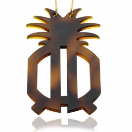 Customised Acrylic Two Initials Monogram Pineapple Necklace
