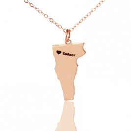 Custom Vermont State USA Map Necklace With Heart  Name Rose Gold