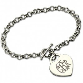 Personalised Monogram Charm Bracelet For Her Silver
