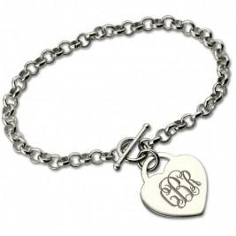 Personalised Monogram Charm Bracelet For Her Silver