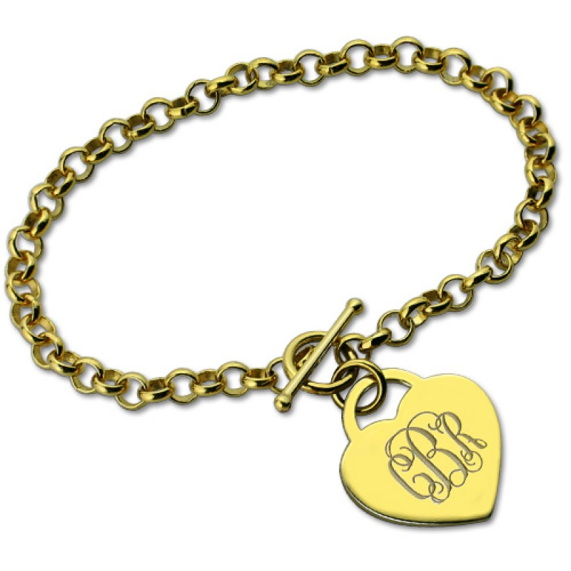 Initial Charm Bracelets: Heart Monogram Initial Charm Bracelets In 18ct Gold Plated