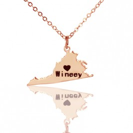 Virginia State USA Map Necklace With Heart  Name Rose Gold