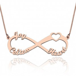 Heart Infinity Necklace 1-3 Names 18ct Rose Gold Plated