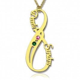 Vertical Infinity Name Necklace with Birthstones 18ct Gold Plated