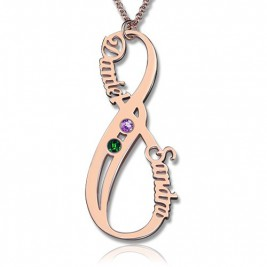 Vertical Infinity Sign Necklace with Birthstones 18ct Rose Gold Plated