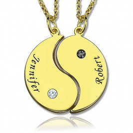 Yin Yang Necklaces Set for Couples or Friend 18ct Gold Plated