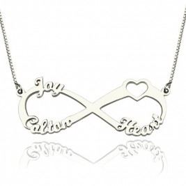 Heart Infinity Necklace 1-3 Names Sterling Silver