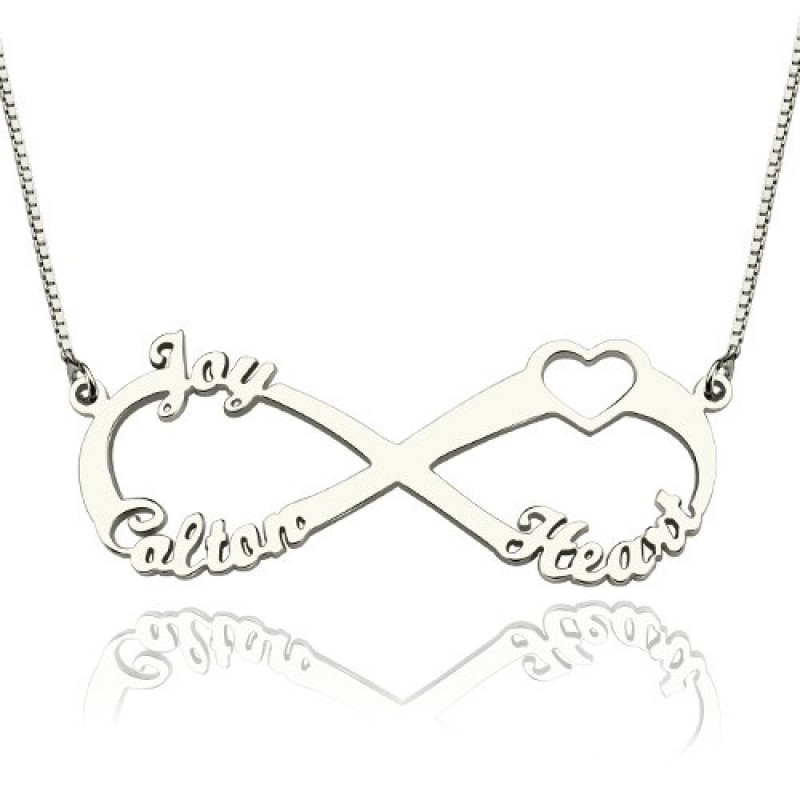 1c2ca3d276235 Heart Infinity Necklace 1-3 Names Sterling Silver