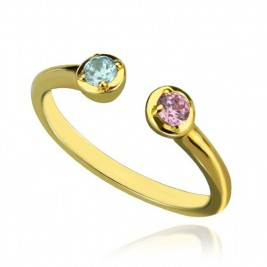 Dual Birthstone Ring 18ct Gold Plated