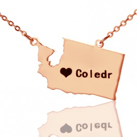 Washington State USA Map Necklace With Heart  Name Rose Gold