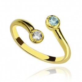 Dual Drops Birthstone Ring 18ct Gold Plated