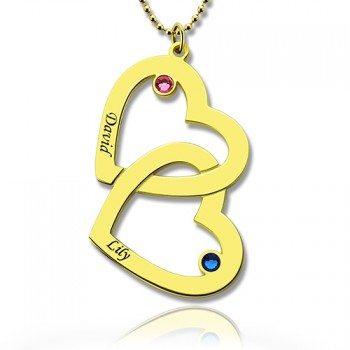 Custom Birthstone Heart in Heart Name Necklace 18ct Gold Plated