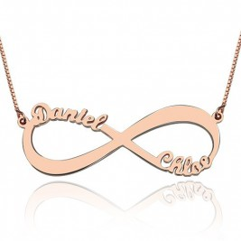 18ct Rose Gold Plated Double Name Infinity Necklace
