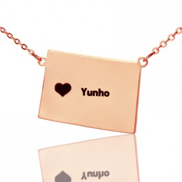 Wyoming State Shaped Map Necklaces With Heart  Name Rose Gold