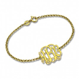 18ct Gold Plated Monogram Bracelet