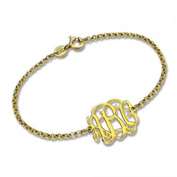 18ct Gold Plated Monogram Bracelet