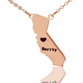 California State Shaped Necklaces With Heart  Name 18ct Rose Gold Plated