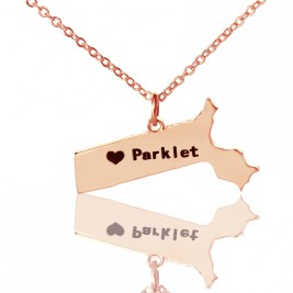 Massachusetts State Shaped Necklaces With Heart  Name Rose Gold