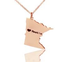 Custom Minnesota State Shaped Necklaces With Heart  Name Rose Gold