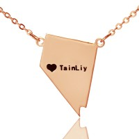 Custom Nevada State Shaped Necklaces With Heart  Name Rose Gold