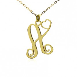 Personalised One Initial With Heart Monogram Necklace in 18ct Solid Gold