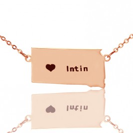 South Dakota State Shaped Necklaces With Heart  Name Rose Gold