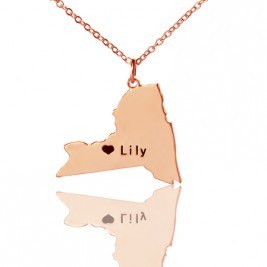 Personalised NY State Shaped Necklaces With Heart  Name Rose Gold