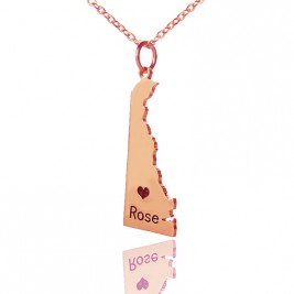 Custom Delaware State Shaped Necklaces With Heart  Name Rose Gold