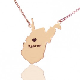 West Virginia State Shaped Necklaces With Heart  Name Rose Gold