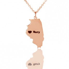 Custom Illinois State Shaped Necklaces With Heart  Name Rose Gold
