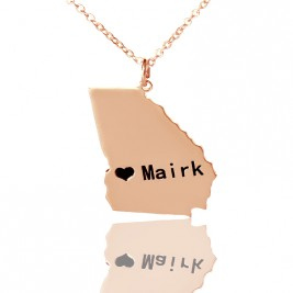 Custom Georgia State Shaped Necklaces With Heart  Name Rose Gold